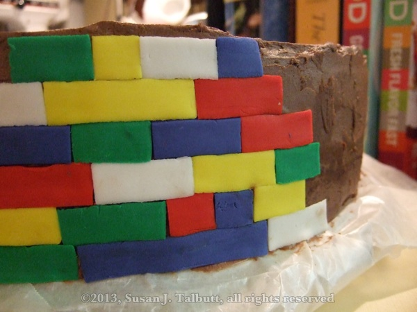 [Lego cake: Close-up of fondant 'bricks,' copyright 2013, Susan J. Talbutt, all rights reserved]