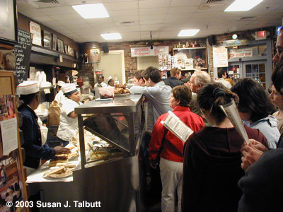 [People lining up at Mother's for the fantastic Cajun food, December 2003]