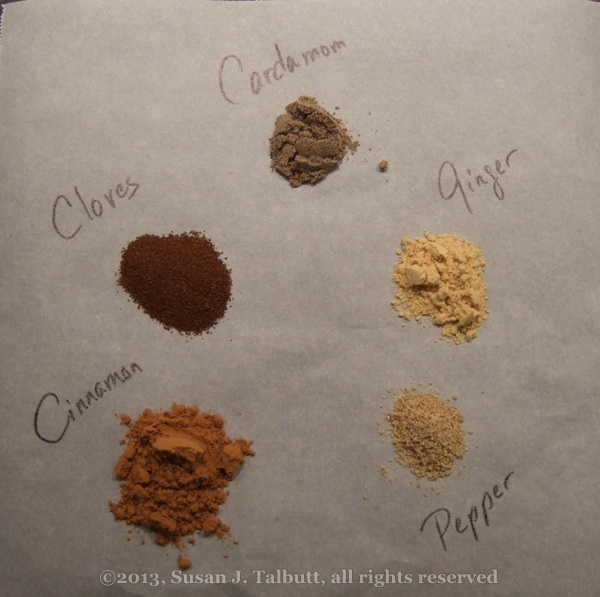 [Cinnamon, cloves, cardamom, ginger and pepper: the spices of Pfeffernuesse, copyright 2014, Susan J. Talbutt, all rights reserved]