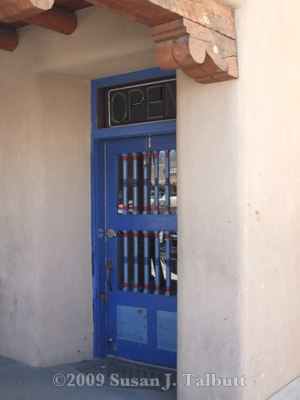 [Doorway on the plaza in Taos, New Mexico]